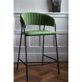 Phenomenal Curved Back Velvet Bar Stool In Moss Green Pabps2019 Chair Design Images Pabps2019Com