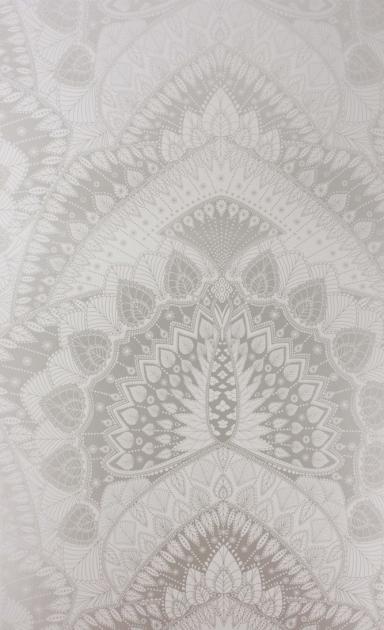 cutout Image of Matthew Williamson Azari Wallpaper - Silver Grey silver and grey mandala pattern