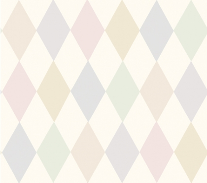 cutout Image of Cole & Son Whimsical Collection - Punchinello Wallpaper - Chalky Pastels pastel coloured harlequin pattern