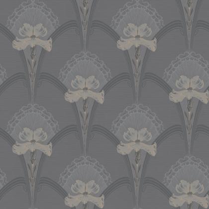 Close-up square detail image of the BorasTapeter Jubileum Wallpaper - Lilja - Black  grey open flower repeated pattern