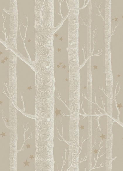 Close-up detail image of Cole & Son Whimsical Collection - Natural Woods & Stars Wallpaper - Linen neutral coloured tree trunks on slightly darker background and stars