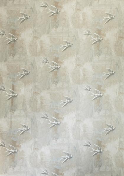 cutout Image of Barneby Gates Fresco Birds Wallpaper neutral coloured birds pattern