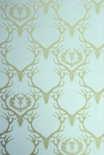 cutout Image of Barneby Gates Deer Damask Wallpaper - Duck Egg Blue/Antique Gold blue and gold deer repeated pattern