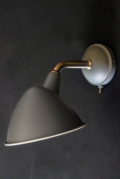 Mid Century Style Charcoal Grey Wall Light on dark wall background turned off lifestyle image