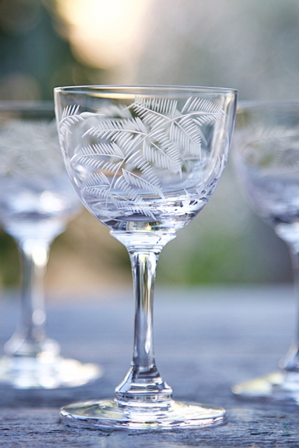 Set Of 6 Vintage Style Crystal Liqueur Glasses - Ferns