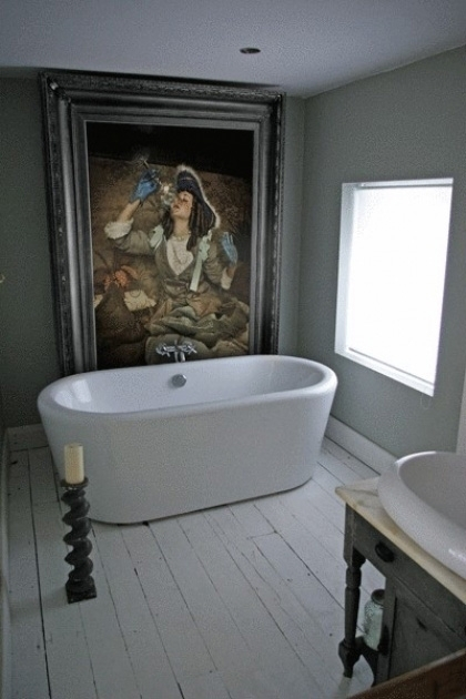 Lifestyle image of the Air' Canvas with Printed Frame in a bathroom setting with white bath and black candlestick on white wooden floor