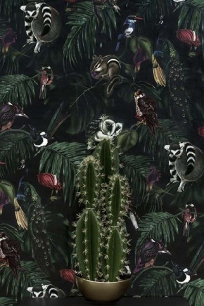Dark Amazonia Wallpaper - Dark background with animals hiding in the foliage - Rockett St George