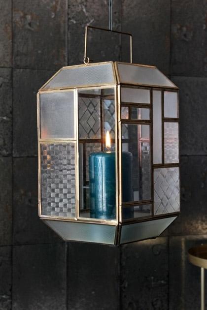 Art Deco Brass & Glass Lantern