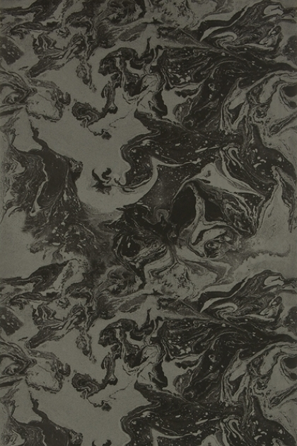 cutout Image of Christian Lacroix Bain De Minuit Wallpaper dark grey and green toned marble like swirl pattern