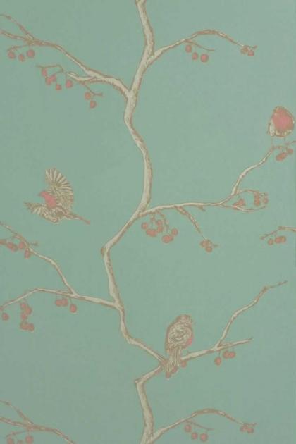 cutout Image of Barneby Gates English Robin Wallpaper - Jade nude and teal oriental patern