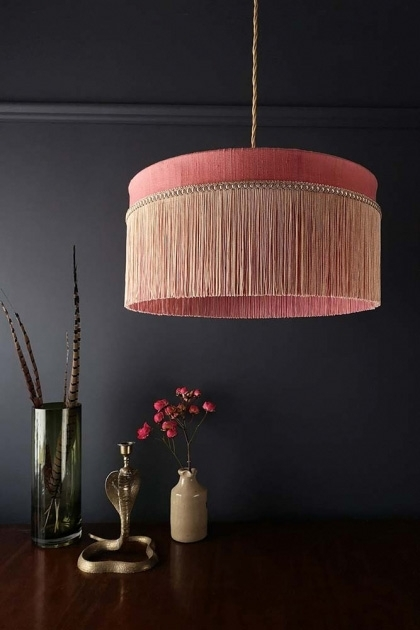 Lifestyle image of the Bespoke Coral Hibiscus Silk Tiffany Lamp Shade with straight fringe