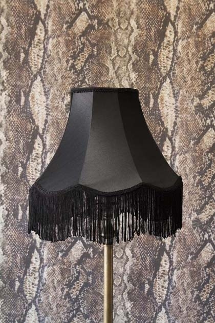 lifestyle image of Bell Lamp Shade With Fringing - 3 Sizes Available with Rockett St George Sexy Snakeskin Wallpaper in background