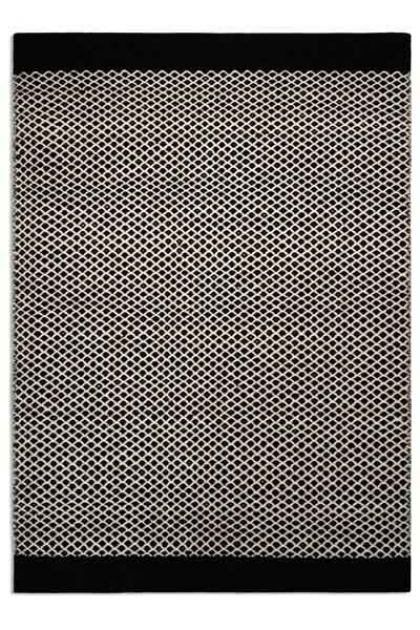cutout image of Belle 100% Wool Rug - Black/Natural Criss Cross 03 - 2 Sizes Available on white background