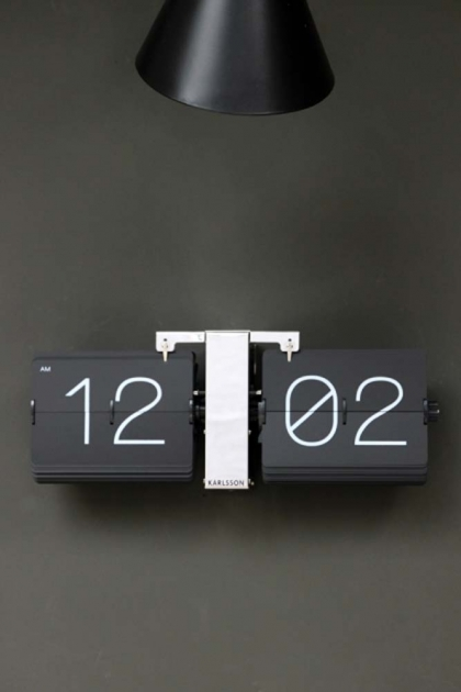 Black flip clock with chrome stand under a black lamp shade