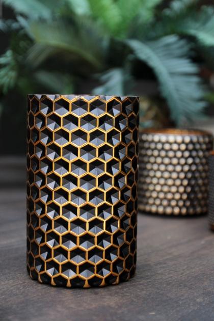 Honeycomb Black & Gold Tea Light Holder - Large