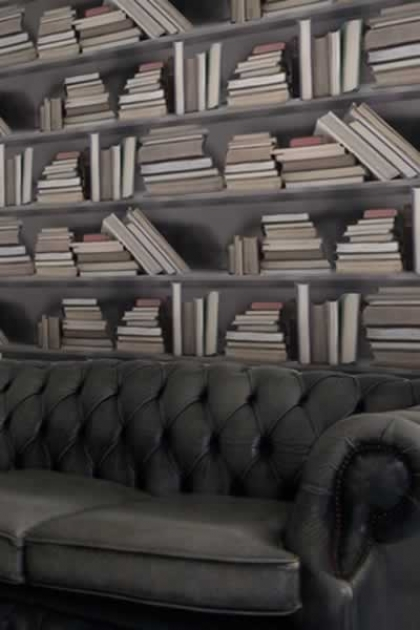Young & Battaglia Bookshelf Wallpaper - Vintage