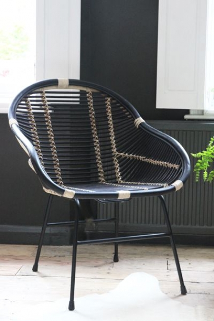 Capri Black & Natural Rattan Chair