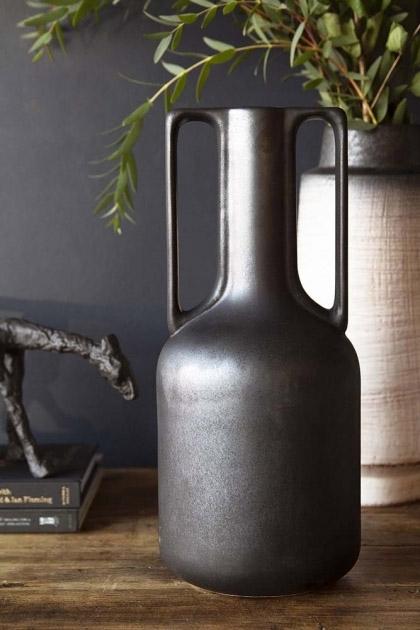 Ceramic Bottleneck Vase With Handles - Black Onyx
