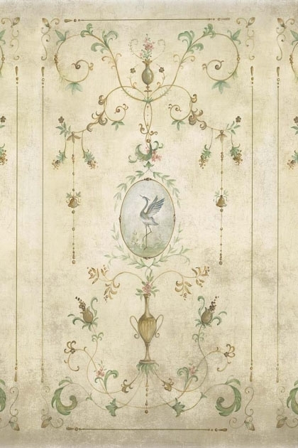 Close-up detail image of the Chinoiserie Panel Wallpaper Mural - Mirto Clow green toned renaissance style pattern with bird in middle on nude colored background