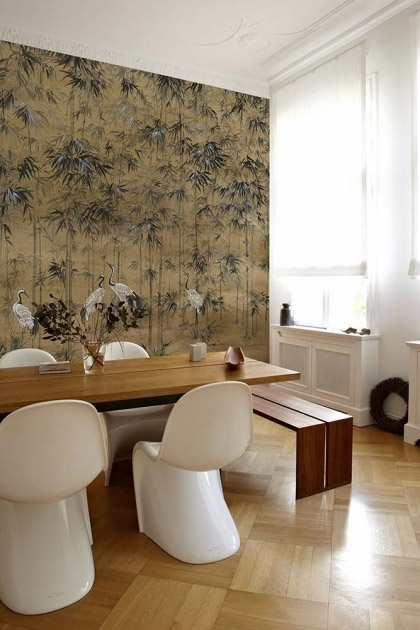 Lifestyle image of the Chinoiserie Wallpaper Mural - Garzas Clow with wooden dining table and modern white chairs around it on wooden flooring