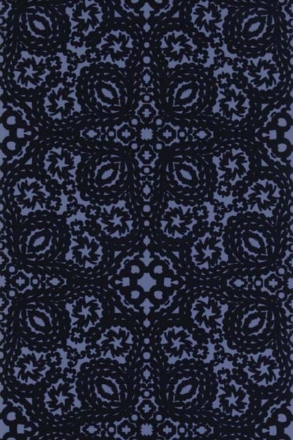 detail image of Christian Lacroix Air de Paris Collection - Paseo Wallpaper - 3 Colours Available black and blue kaleidoscope effect repeated pattern