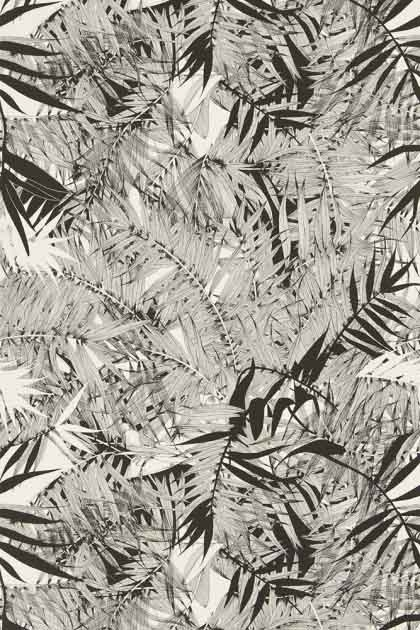 detail image of Christian Lacroix Butterfly Parade Collection - Eden Roc Wallpaper - 4 Colours Available grey and black palm leaves on white background repeated pattern