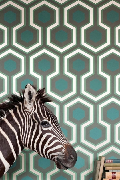 Contemporary restyled hexagon wallpaper with a zebra head in front of it