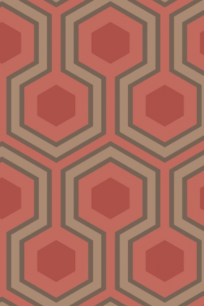 Close-up detail image of the Cole & Son Contemporary Restyled - Hicks' Grand Wallpaper - Red red nude and grey honeycomb pattern
