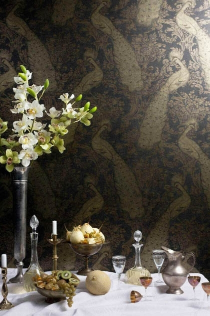 lifestyle image of Cole & Son The Albemarle Collection - Byron Wallpaper - 4 Colours Available behind white laid table with fruit and vase with flowers in