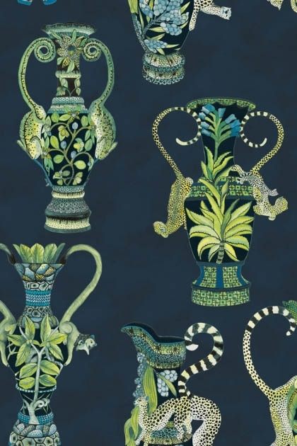 detail image of Cole & Son The Ardmore Collection - Khulu Vases Wallpaper - 4 Colours Available green toned vases with black and white lemur's on dark blue background repeated pattern