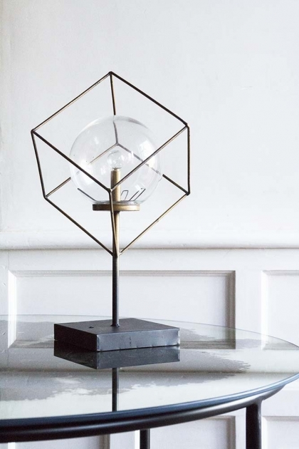 Lifestyle image of the LED Cubic Frame Battery Operated Table Lamp