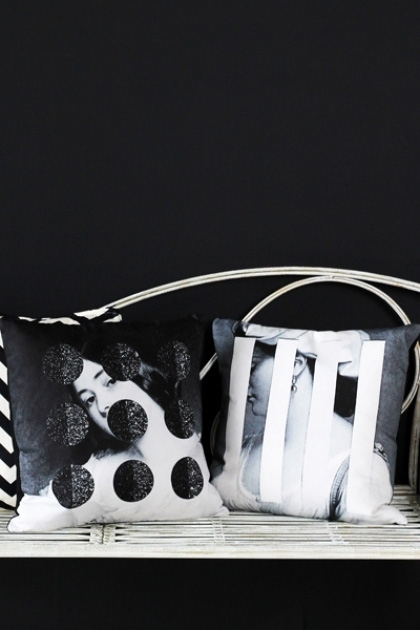 lifestyle image of Cushiona Obscura Collection - Blink & Glimpse Cushions on white metal bench and black wall background