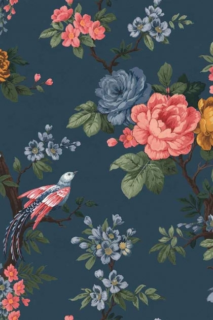 detail image of the Dawn Chorus Ink Blue Wallpaper by Pearl Lowe pink and blue toned roses with green leaves on dark blue background