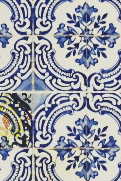 detail image of Designers Guild Carnets Andalous Collection - Patio Wallpaper blue and white oriental style square tiles repeated pattern