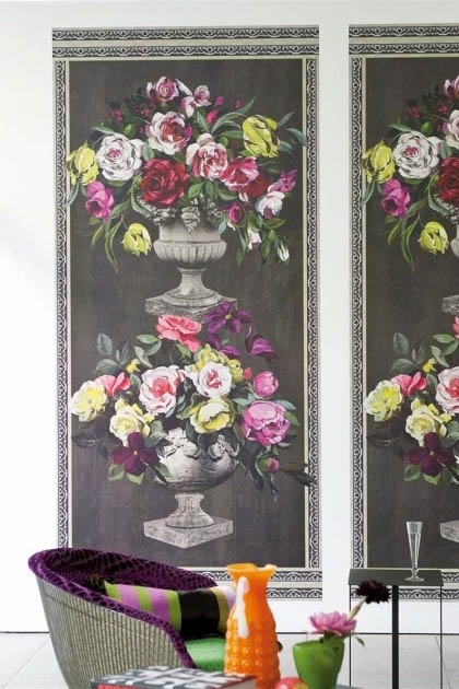 lifestyle image of Designers Guild Wallpaper - Zephirine Collection - Ornamental Garden Panel Print with grey and purple armchair with glass coffee table and bright coloured ornaments