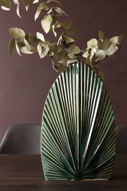 Lifestyle image of the Emerald Green Palm Vase