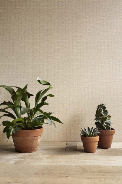 lifestyle image of Engblad & Co Atmospheres Collection - Small Knit Wallpaper - 3 Colours Available with plants in terracotta pots