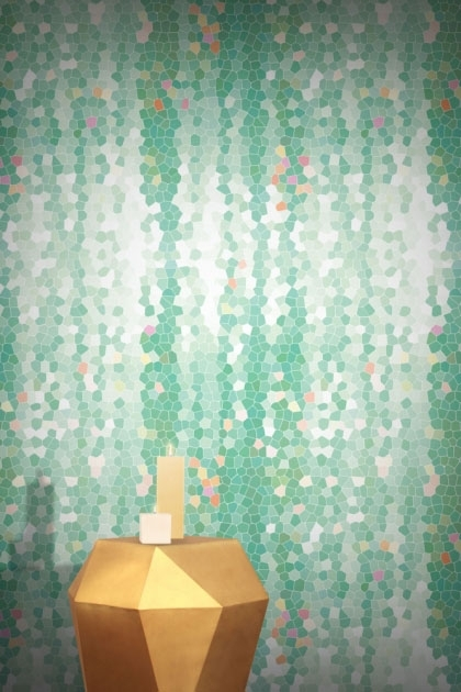 lifestyle image of Feathr Firefly Wallpaper - Mint with gold side table and candles on top