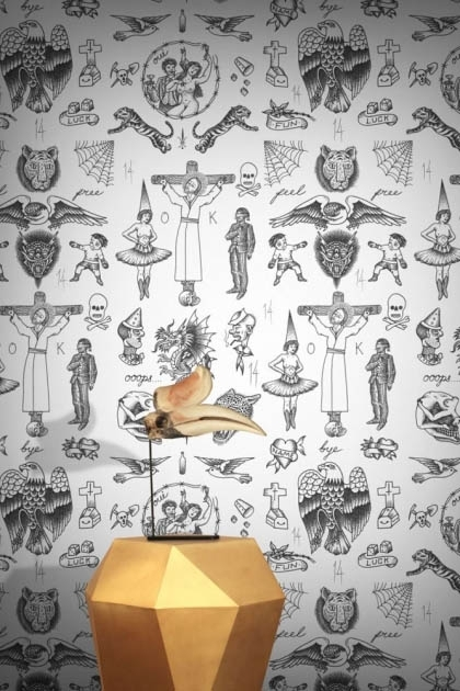lifestyle image of Feathr Tattoo Flash 01 Wallpaper - Original with gold side table and bird skull ornament