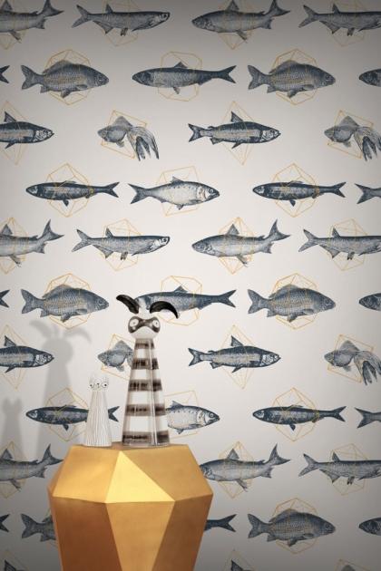 Feathr Fishes In Geometrics Wallpaper - Sand & Orange