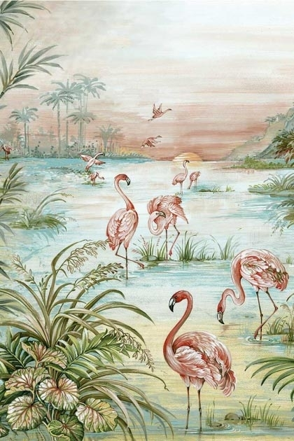 Close-up detail image of the Flamingo Chinoiserie Wallpaper Mural - Aloe pink flamingos with green grass and plants with blue water and pink toned sky
