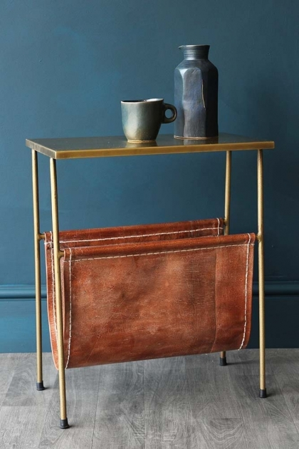 Gatsby Side Table With Leather Magazine Holder