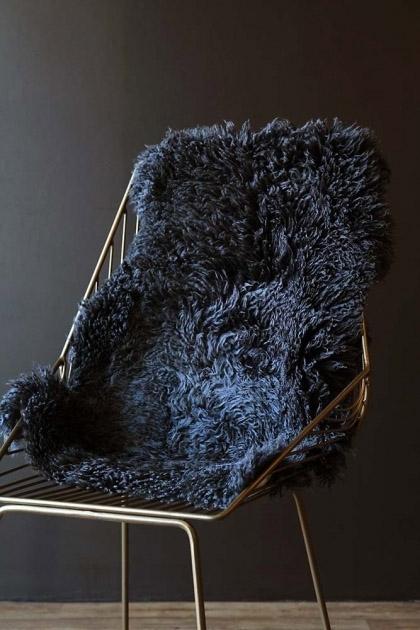Genuine New Zealand Long Wool Curly Sheepskin - Steel