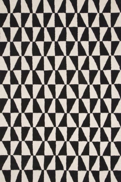 Geometric 100% Wool Rug - Black 01 - 2 Sizes Available