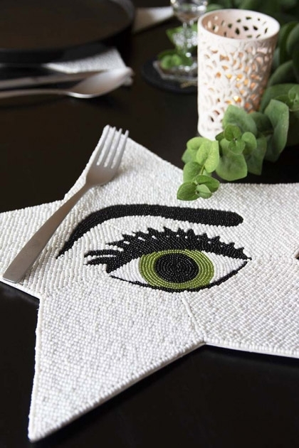 Glamorous Star Beaded Placemat - Green Eyed Sass