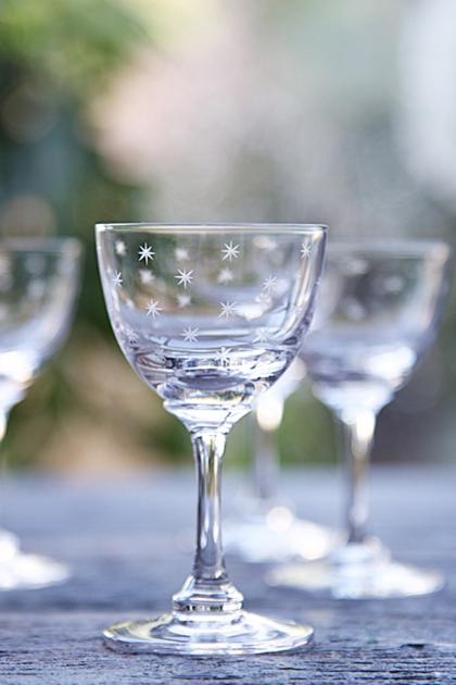 Set Of 6 Vintage Style Crystal Liqueur Glasses - Stars