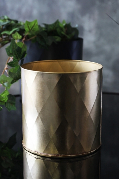 lifestyle image of Gold Faceted Planter with plant in background on black table