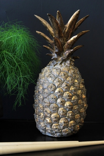 Gold Pineapple Ornament on dark wall background and plant lifestyle image