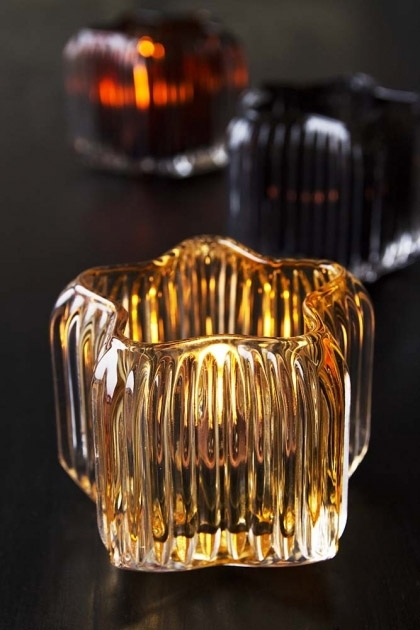 Golden Glow Star-Shaped Glass Tea Light Holder