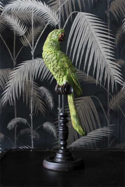 Green Tropical Parrot on a Perch